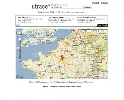 utrace - géolocalisation IP