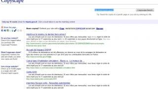Interface de Copyscape - anti-plagiat sur le web