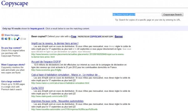 Interface de Copyscape - anti-plagiat sur le web