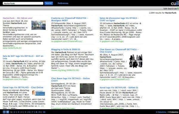 Interface de Cuil : ex moteur de recherche