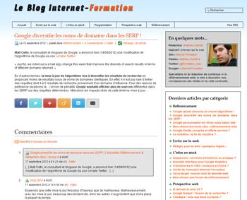 Ancienne interface graphique du blog Internet-Formation
