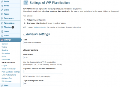 Options de WP-Planification (articles, pages...) sur WordPress