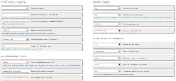 Configuration Advanced Search WordPress - moteur de recherche (extension)