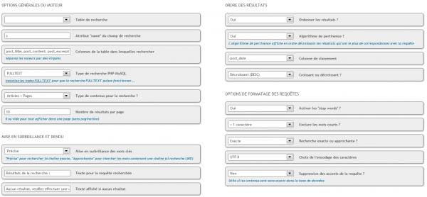 Configuration Advanced Search WordPress - moteur de recherche (extension)