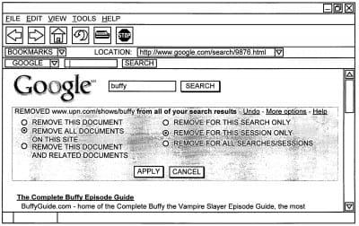 """Bouton de suppression """"Supprimer"""" dans les SERP Google"""