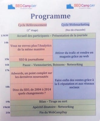 Programme du Web Camp Day d'Angers 2014 (SEO Camp)