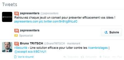 Exemple d'un tweet sponsorisé avec Twitter Publicités