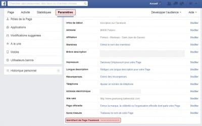 récupération Id page Facebook