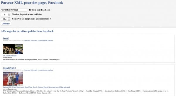 Parser PHP avec cURL, simpleXML et JSON pour Facebook