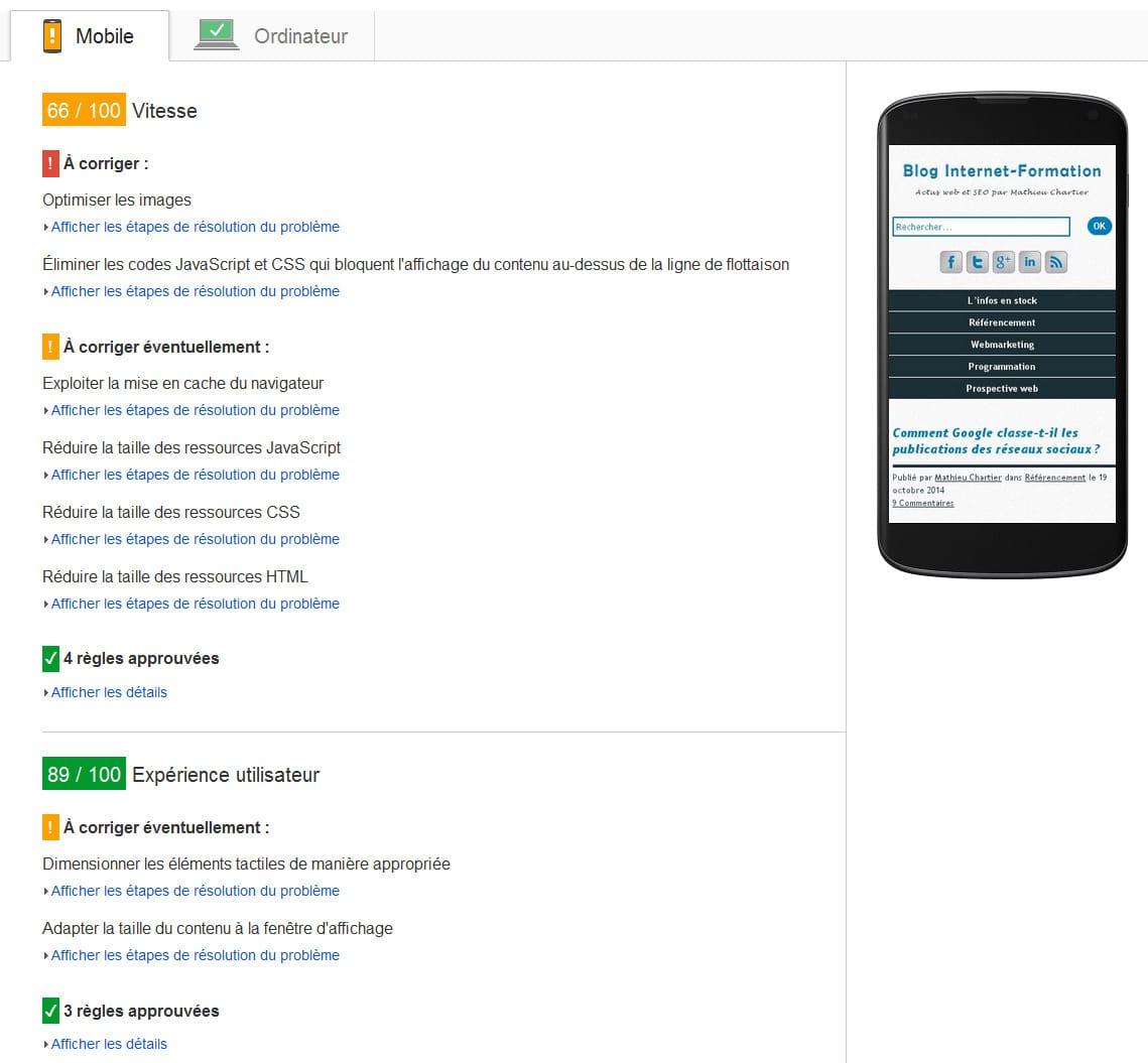 Suivi du mobile et du temps de chargement mobile dans PageSpeed Insights