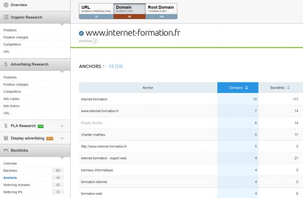 SEMrush - suivi des backlinks et liens entrants (SEO et référencement)