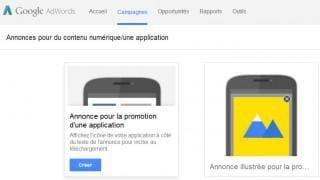 Annonces pour la promotion d'une application sur Adwords