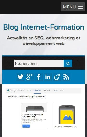 Blog Internet-Formation version responsive web design