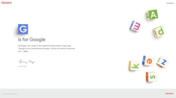 Google Alphabet choisit le nom de domaine abc.xyz