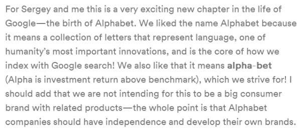 Pourquoi Google a appelé sa holding Alphabet ?