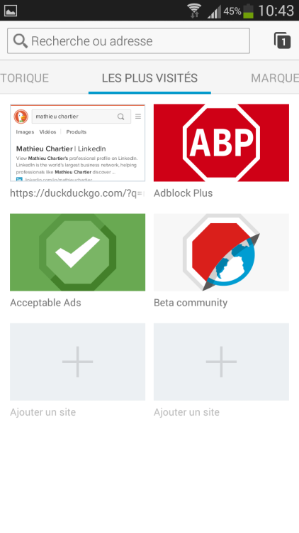 Adblock Browser pour Androïd et iOS sur mobile avec blocage des publicités et protection de la vie privée
