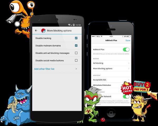 Navigateur mobile Adblock pour Androïd et iOS