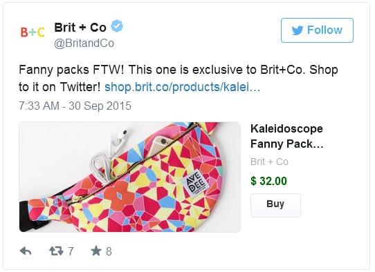 """Nouveau bouton """"Acheter maintenant"""" dans Twitter"""