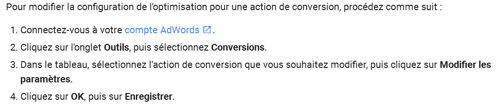 Conversions par optimisation de Google Adwords