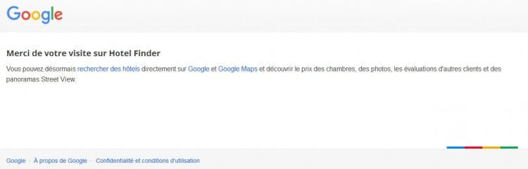 Suppression de la page d'accueil de Google Hotel Finder