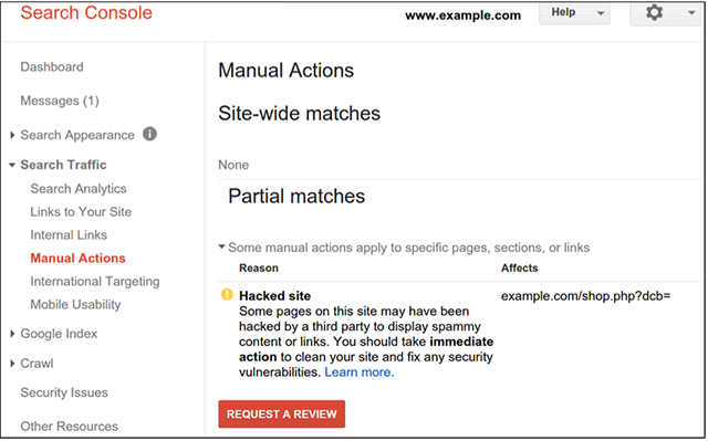 Test de suppression automatique des actions manuelles dans la Google Search Console