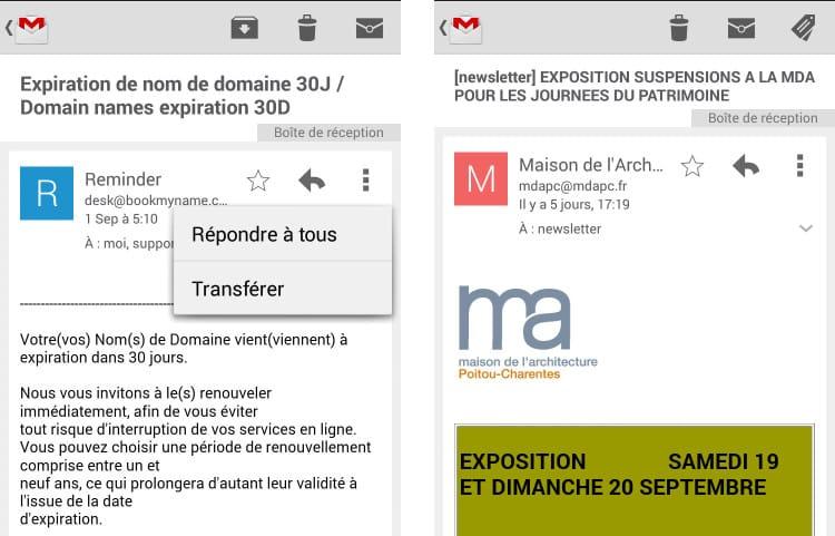 Anciennes options de Gmail sur mobile Androïd
