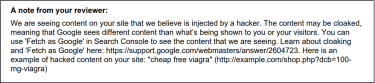 Message anti-spam envoyé aux webmasters dans la Google Search console