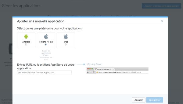 Gestion et suivi des applications dans Twitter Analytics