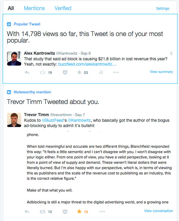 Twitter teste la mise en avant des activités pour les comptes certifiés