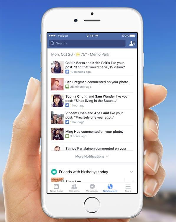 Nouvel onglet de notifications dans les applications iOS et Android de Facebook