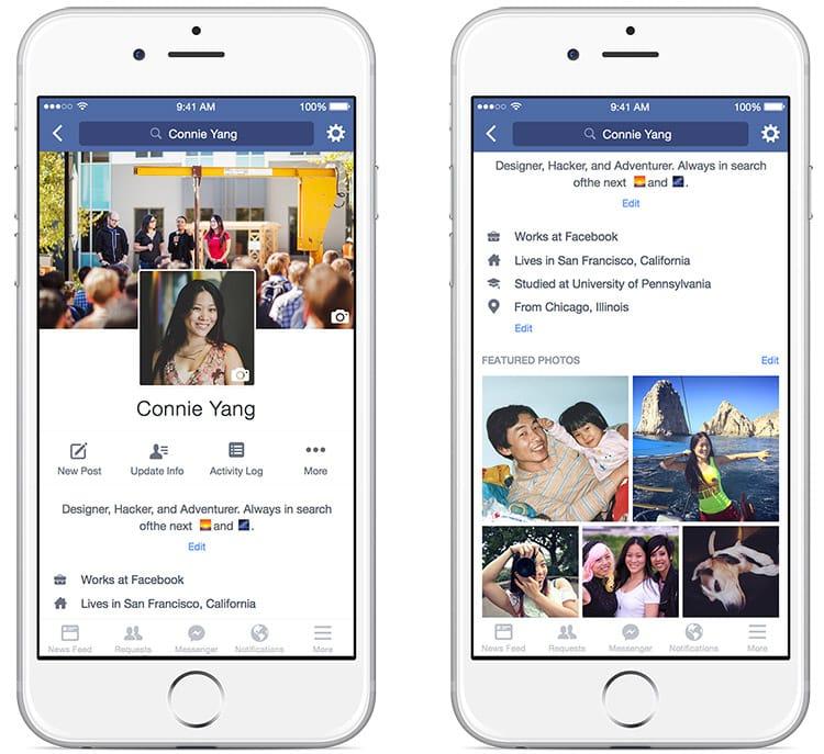 Facebook améliore le design et l'ergonomie des profils sur mobile
