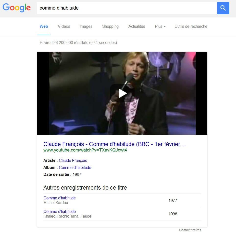 Affichage des reprises de titres de musique dans le Knowledge Graph de Google