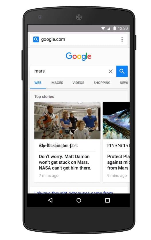 Exemple de page Google avec le projet AMP HTML