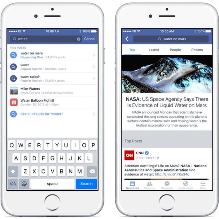 Nouvelle recherche améliorée dans Facebook