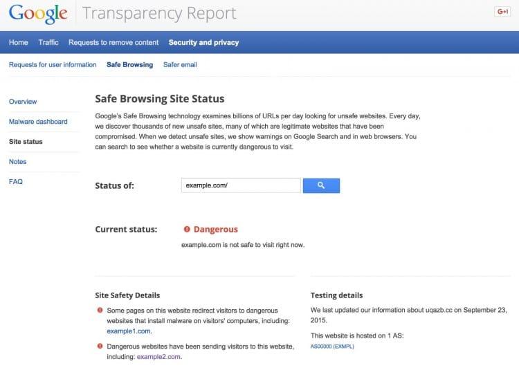 Analyse d'un site pirate avec l'outil de détection de Google