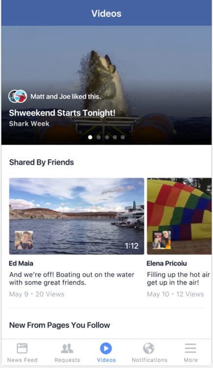 Nouvelle section vidéo en test sur Facebook (iOS)