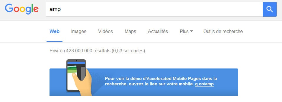Démo du projet AMP (Accelerated Mobiles Pages) de Google sur mobile