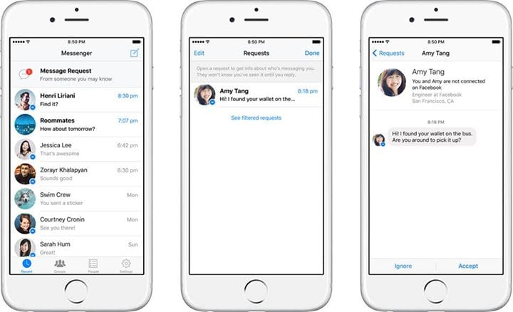 Nouveau mode de contact par nom dans Facebook Messenger