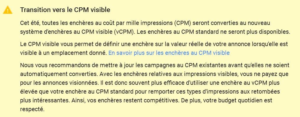 Passage aux vCPM (coût pour mille impressions vues) sur le réseau Display de Google Adwords