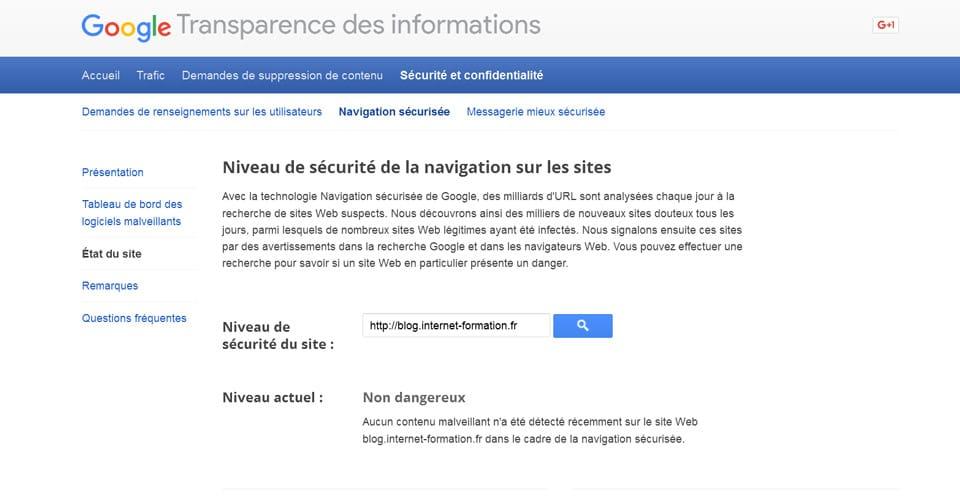 Outil d'analyse de la sécurité des sites web sur Google (transparence des informations)
