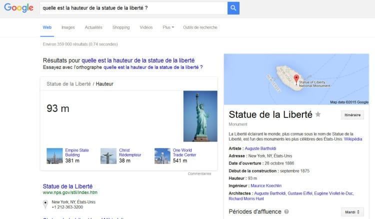 Exemple de réponse dans le Knowledge Graph de Google