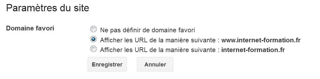 Indiquer nom de domaine favori dans la Google Search Console