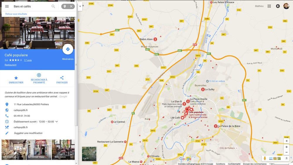 Nouveau design pour la présentation d'un business local dans Google Maps