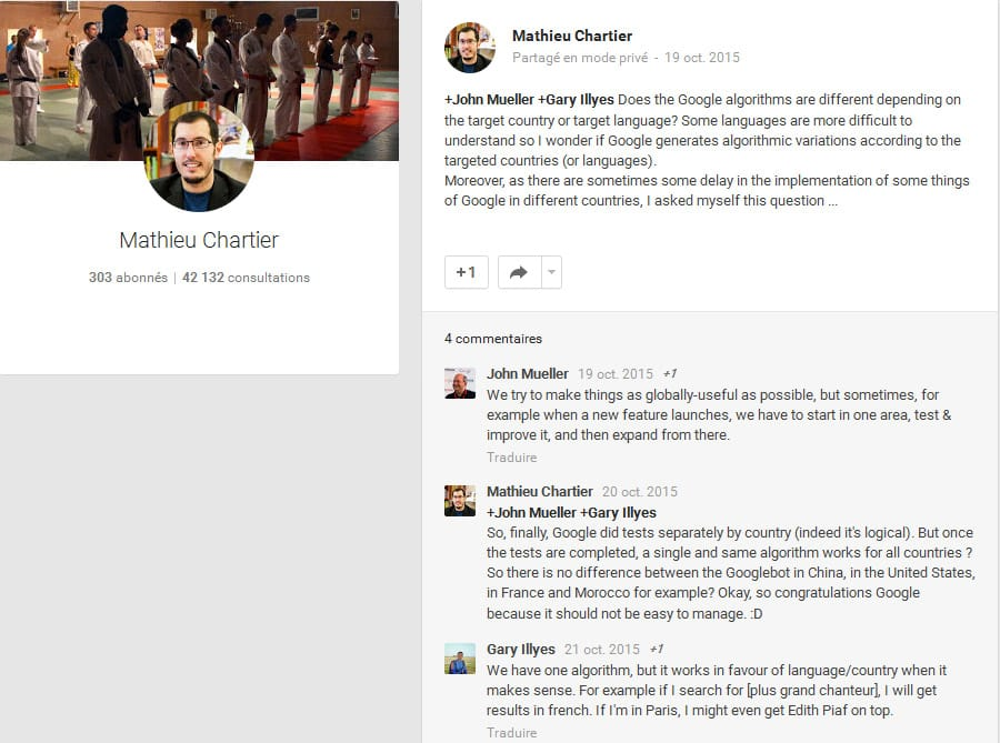 Conversation entre Google et Mathieu Chartier