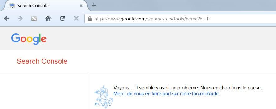 Page d'erreur de la Google Search Console