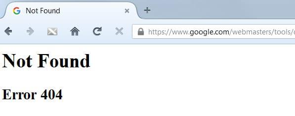Page d'erreur 404 de la Google Search Console