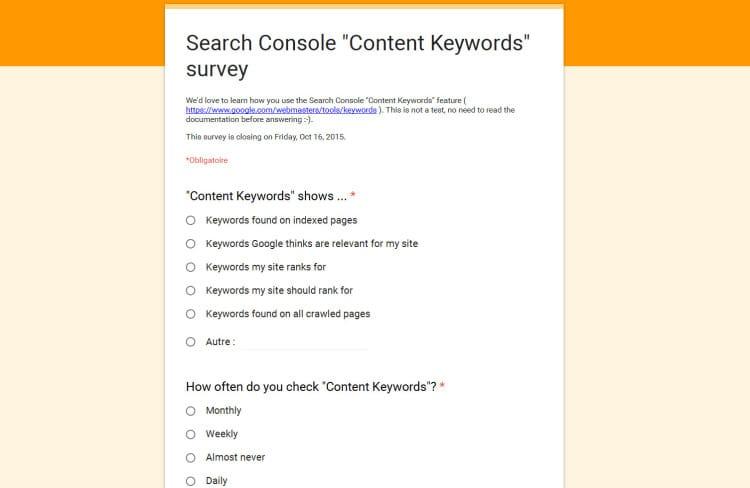 Sondage de Google sur l'utilité et la qualité des mots clés de contenu dans la Google Search Console