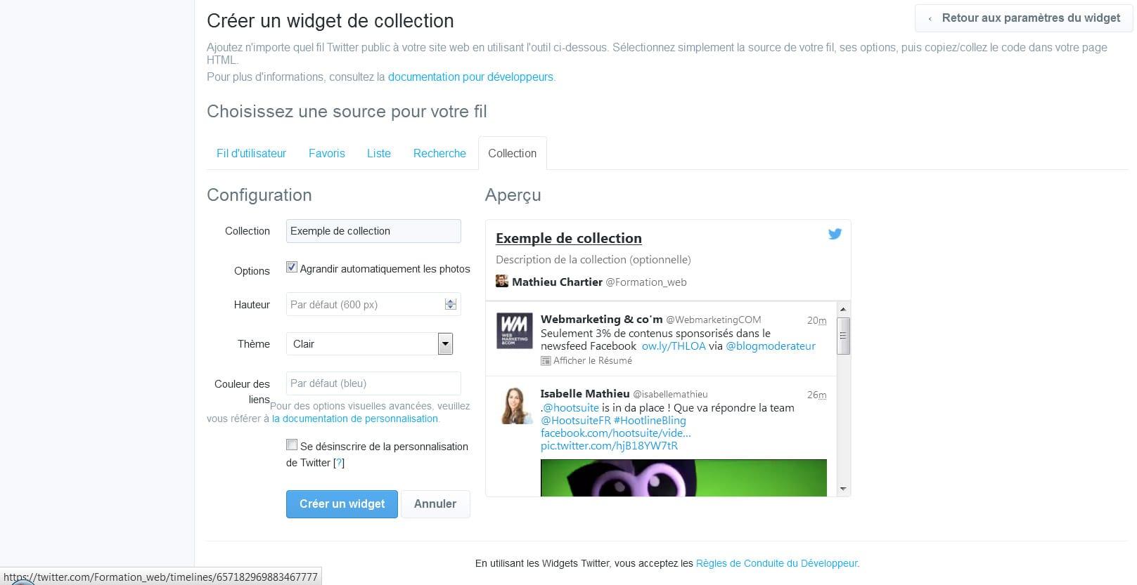 Récupérer l'ID ou l'URL d'une collection dans Twitter