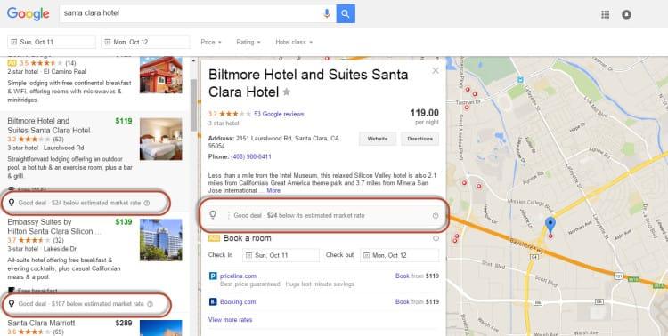 """Google Hotel Finder ajoute l'indication """"good deal"""" dans ses SERP"""