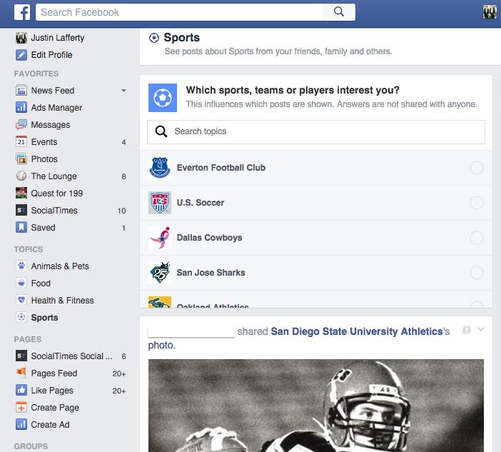 Test des fils d'actualités par thématique sur Facebook